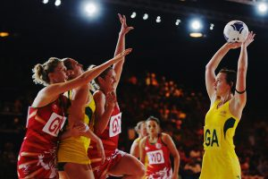 GLASGOW, SCOTLAND - JULY 24: Natalie Medhurst of Australia shoots during the Preliminary Round Group B match between Australia and Wales at SECC Precinct during day one of the Glasgow 2014 Commonwealth Games on July 24, 2014 in Glasgow, United Kingdom. (Photo by Hannah Peters/Getty Images)