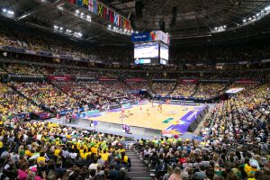 AUSTRALIA vs NEW ZEALAND. Players in action during the Gold Medal Match on Day 10