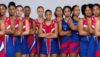 Bermuda Netball Players prepare for the Netball Europe Open