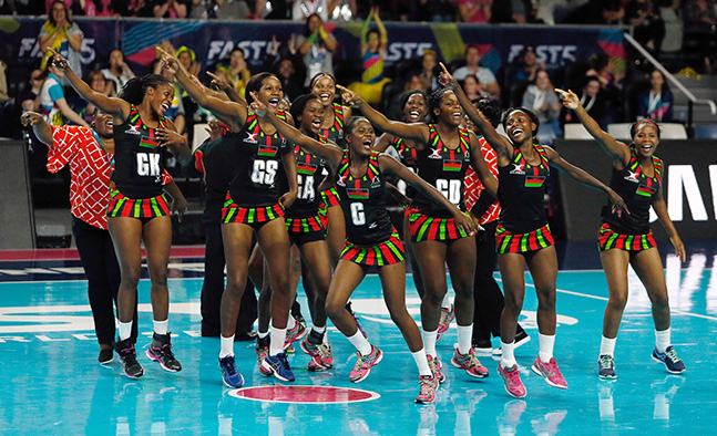 2016 Fast 5 Netball World Series 3v4 Final England v Malawi Malawi celebration